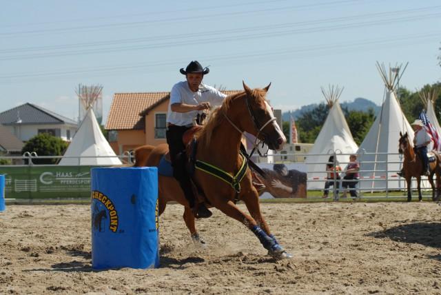 Wie ein freilaufendes Pferd lehnt sich dieses Pferd in der Kurve nach innen und stellt sich nach außen
